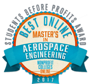 BEST ONLINE MASTER'S IN AEROSPACE ENGINEERING - STUDENTS BEFORE PROFITS AWARD 2017