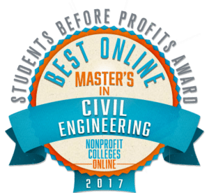 BEST ONLINE MASTER'S IN CIVIL ENGINEERING - STUDENTS BEFORE PROFITS AWARD 2017