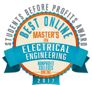 BEST ONLINE MASTER'S IN ELECTRICAL ENGINEERING -  STUDENTS BEFORE PROFITS AWARD 2017