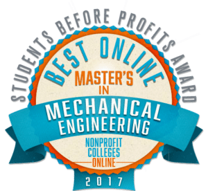 BEST ONLINE MASTER'S IN MECHANICAL ENGINEERING - STUDENTS BEFORE PROFITS AWARD 2017