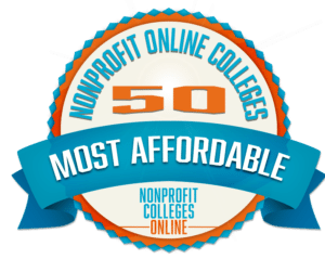 Logo for our ranking of most affordable nonprofit online colleges