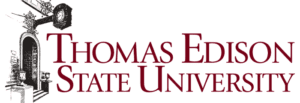 A logo of Thomas Edison State University for our ranking of the top online colleges for military.