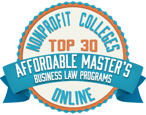 TOP 30 AFFORDABLE MASTER'S IN BUSINESS LAW PROGRAMS Badge