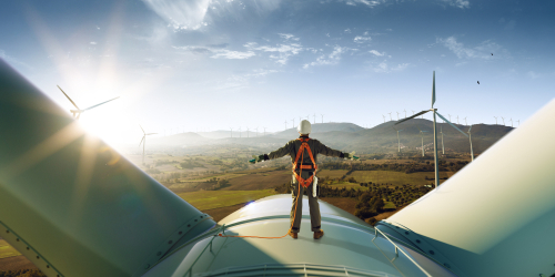 Image of person working on windmills for our listing of best paying jobs in energy